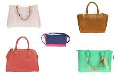Female colorful handbag collection on white isolated royalty free stock photo