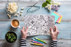 Female coloring adult coloring book, mindfulness concept Royalty Free Stock Images