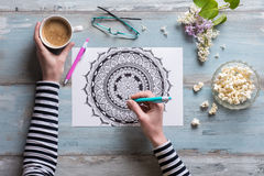 Female coloring adult coloring book, mindfulness concept Stock Photos