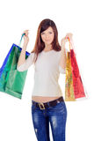 Female with colour shopping bags over white Stock Photos