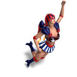 Female Comic Hero In An Red, Blue, White Outfit Stock Photography
