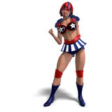 Female comic hero in an red, blue, white outfit Royalty Free Stock Image