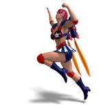 Female comic hero in an red, blue, white outfit Royalty Free Stock Photos