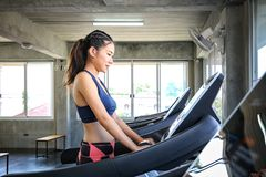 Female are committed to exercise. Women are entering a weight control program. Young people running on Treadmill. Young woman stock images