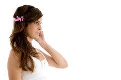 Female communicating on mobile Stock Photo