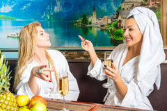 Female communication after spa treatments Stock Photos