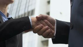 Female company ceo shaking hand with male business partner, successful deal