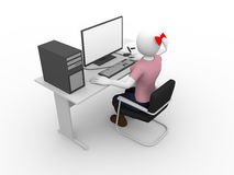 Female computer user Royalty Free Stock Photography