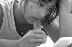 Female concentrating royalty free stock images