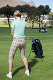 Female concentrating golfer teeing off Stock Images