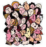 Female concept - many faces and expression vector illustration