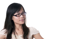 Female confused smile Royalty Free Stock Images