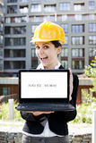 Female construction engineer with computer Stock Photos