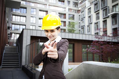 Female construction engineer pointing Royalty Free Stock Photography