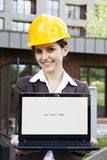 Female construction engineer witch computer Royalty Free Stock Photo