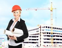 Female construction specialist reviewing Stock Photography