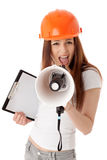 Female construction superintendent with megaphone Royalty Free Stock Images