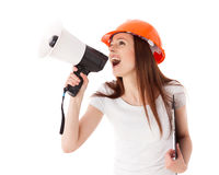 Female construction superintendent with megaphone Royalty Free Stock Photography