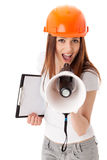 Female construction superintendent with megaphone Royalty Free Stock Photo