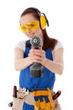 Female construction worker. Royalty Free Stock Photos