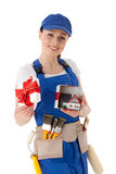 Female construction worker. Royalty Free Stock Image