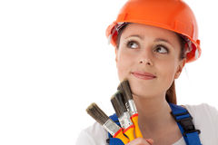 Female construction worker. Royalty Free Stock Images