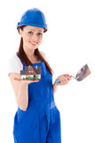 Female construction worker. Royalty Free Stock Photo