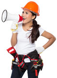 Female construction worker in action Royalty Free Stock Photos