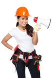Female construction worker in action Royalty Free Stock Image