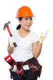 Female construction worker in action Stock Photos