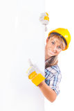 Female construction worker with blank board  on white Stock Image