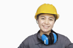Female Construction worker, close up, portrait Royalty Free Stock Photos