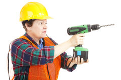 Female Construction Worker Drilling Stock Photos