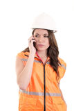 Female construction worker or engineer with hard Royalty Free Stock Images