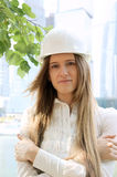 Female construction worker in hard hat Royalty Free Stock Images
