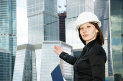 Female construction worker in hard hat Stock Photos