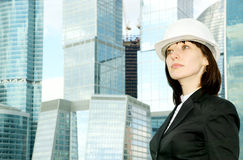 Female construction worker in hard hat Stock Image