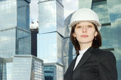 Female construction worker in hard hat Stock Photo