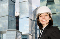 Female construction worker in hard hat Stock Photography