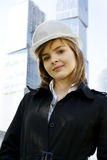 Female construction worker in hard hat Royalty Free Stock Photo
