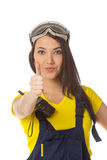 A female construction worker holding an ok signal Stock Image