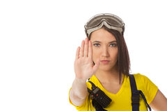 A female construction worker holding a stop signal Royalty Free Stock Images