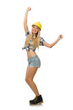 Female construction worker isolated. On white Royalty Free Stock Photography