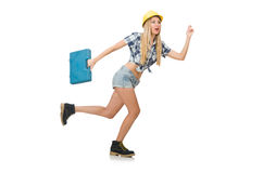 Female construction worker isolated Royalty Free Stock Photos