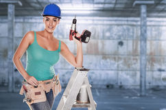 Female construction worker. Stock Photo