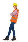 Female Construction Worker Leans On A Wall Stock Photos