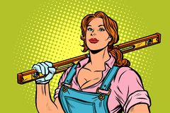 Female construction worker with level. Pop art retro vector illustration vintage kitsch stock illustration