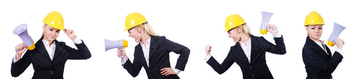 The female construction worker with loudspeaker Royalty Free Stock Photography