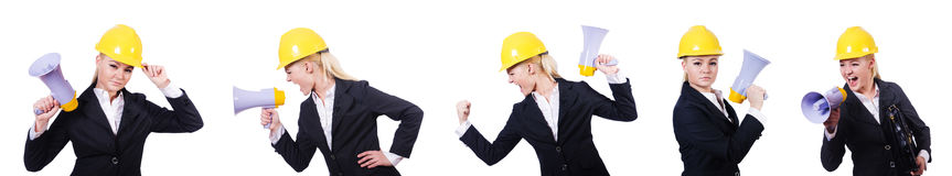 The female construction worker with loudspeaker Royalty Free Stock Photos
