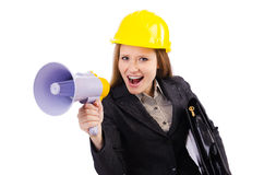 Female construction worker with loudspeaker isolated Stock Photography